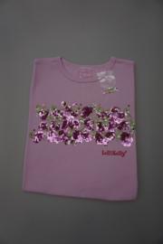 Lelli kelly, t-shirt 100% katoen, geborduurd met bloemenrand/pailetten en strass, rose, maten L