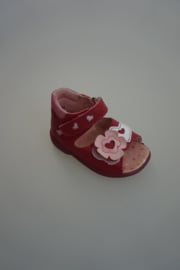 Peppino van Ricosta, superlicht sandaaltje met klittenbanden, nubuck leer, donker roze met bloemen, dichte hiel
