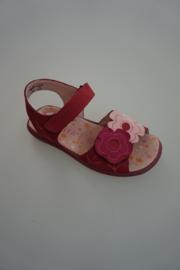 Ricosta, nubuckleren sandaal, donker rose met bloemen