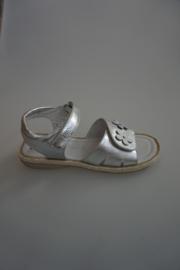 Little David leren sandaal, voor en achter verstelbaar met klittenband, zilver