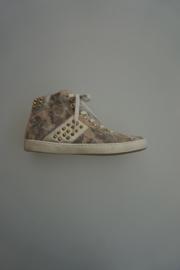 Clic leren sneaker, mid hoog, leer gevoerd, met studs en luxe camouflage print