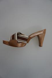 Unisa, sandalet, hout met webbing, bruin multi color, plateau en hak