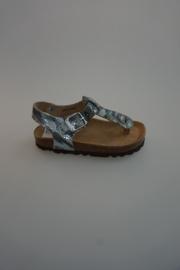 Kipling, leren sandaal, tussen de teen, gespsluiting, camouflage, zilver