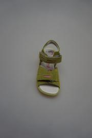 Daumling, nubuck leren klittenbandsandaal, leren voetbed, groen 25 28 29 30 31 35