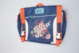 Oilily,  schooltas met flap, blauw met oranje accentkleur,