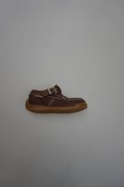 Naturino, half open schoentje, t-band model mocassin, valt smal, nubuck leer, leer gevoerd, bruin, 20
