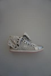 Le Coq Sportif, hoge sneaker,canvas,  veter met omslag, zilver wit 38