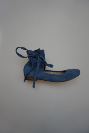 Bruno Premi ballerina, nubuck leer, met schacht en strikkoord, leer gevoerd, blauw 37 38