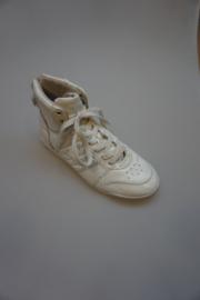 Le Coq Sportif, hoge leren sneaker met veter, geen rits, achter klittenband, binnenkant leer/combi, lak, wit 37