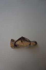 Gattino, leren veterschoen zonder rits, smal model, geen rits, leer gevoerd, bruin camouflage  32