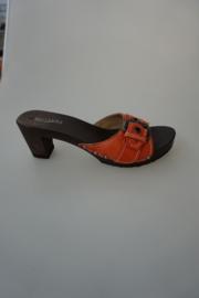 Softclox, houten slipper met hakje, glad leer, fuoco/oranje, band met gesp, niet verstelbaar