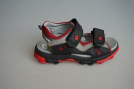 Track Style, leren jongenssandaal , met leren voetbed, klittenbanden, stevige zool, zwart met rood,32