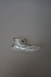 CKS leren bandschoen met stootneusje, leer gevoerd, bloemenprint grijs zilver 23