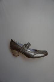 Carmens metallic leren pump, band met gesp, leer gevoerd, stevige hak, piombo zilver 39 41