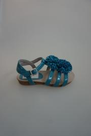 Unisa lakleren sandaal, met pompom, leren binnenkant, capry blauw 26,27