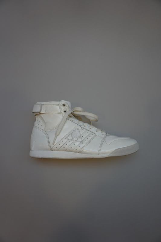 Le Coq Sportif, hoge leren sneaker mey veter, geen rits, achter klittenbandje, binnenkant leer/combi, lak, wit 37 38