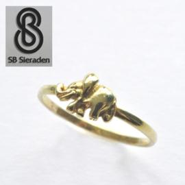14krt echt gouden ring met OLIFANT