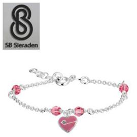 Meisjesarmband - Roze Swarovski kristal en roze  HART Bedel