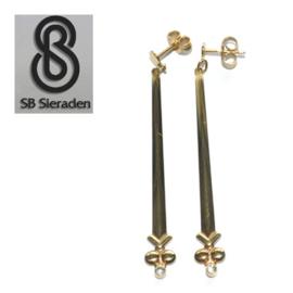 14krt  geel gouden oorstekers met lange hangers