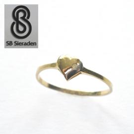 14krt echt gouden ring HART met DIAMANT