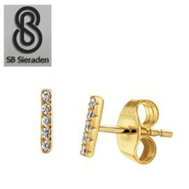 14krt gouden oorknopjes met 5 diamantjes