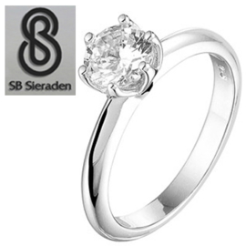Solitair ring in ZIlver