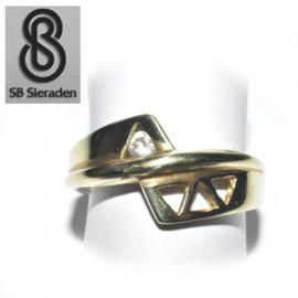 14krt gouden ring - FANTASIE model met 1 zirconia