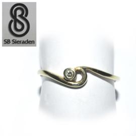 14krt gouden ring - FANTASIE model met een zirconia