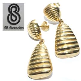 14krt  geel gouden oorhangers - RIBBELS