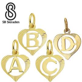 Gouden letter bedel - Hanger in hartvorm