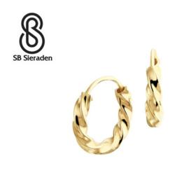 """Gouden creolen """"gedraaid"""" 11mm diameter"""