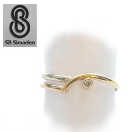 14krt  tricolor gouden ring met ZIRCONIA