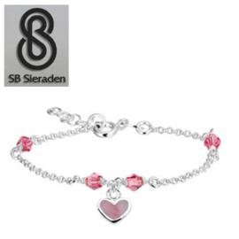 Meisjesarmband - Roze Swarovski kristal en roze Parelmoer HART Bedel