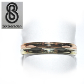 14krt gouden ring - Fantasie model - TRICOLOR goud