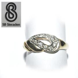 14krt gouden ring - FANTASIE model met zirconia's