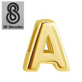 Gouden letter bedel - Hanger - schuifbedel
