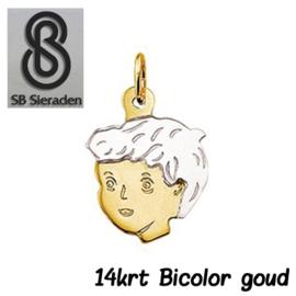 Bicolor GOUDEN kinderkopje bedel 14krt goud.
