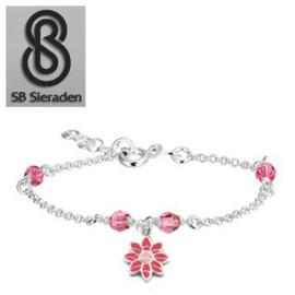 Meisjesarmband - Roze Swarovski kristal en roze BLOEM Bedel