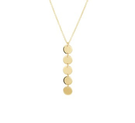 Ketting met 5 glimmende ronde plaatjes - From Me To You - Goldfilled-14k