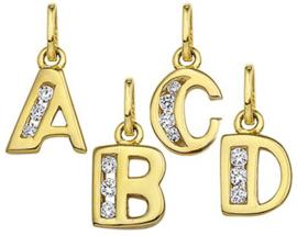Gouden letter bedel - Hanger - 14krt goud met Zirconia's