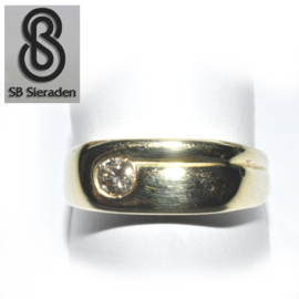 14krt gouden ring - met 1 Briljant