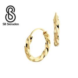 """Gouden creolen """"gedraaid"""" 13mm diameter"""