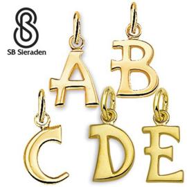 Gouden letter bedel - Hanger geheel glad.