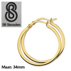 Gouden creolen Vierkante buis 34mm diameter