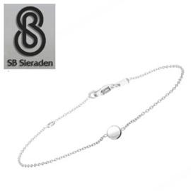 Fijne armband - met klein rondje - Echt Zilver 925