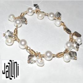 Goldfilled   Armband  - met Zoetwaterparels en kristallen