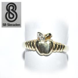 14krt  geel gouden ring APPEL met DIAMANT
