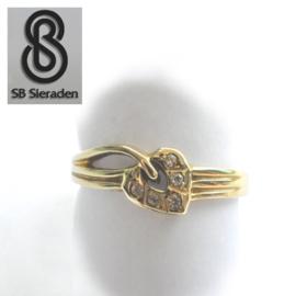 14krt echt gouden ring FANTASIE model met zirconia's