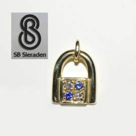 14krt gouden MODERN hangertje met diamant en saffier