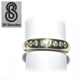 14krt gouden ring - FANTASIE model met een rij zirconia's